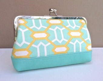 Audrey Clutch: Mint Green and Lemon Hexagons on a Mint Leather Base