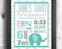 Elephant Nursery Print, Elephant Birth Stats, Birth Announcement, Safari Theme Nursery, Personalized Nursery Art, Digital Print Baby Room