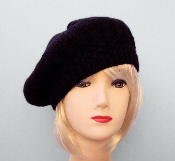 black beret black knit hat womens slouchy beret black by