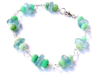 Aquamarine Bracelet, Chrysoprase Bracelet, Sterling Silver Bracelet, Delicate Bracelet, Silver Bracelet, Wire Wrapped Jewelry