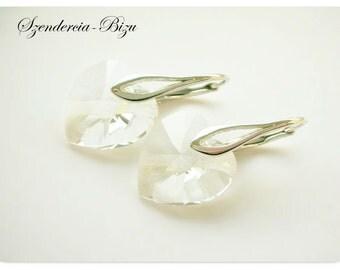 Silver earrings, Swarovski Elements, Heart 14mm Crystal, Heart earrings, Crystal earrings, Sterling silver earrings, White earrings
