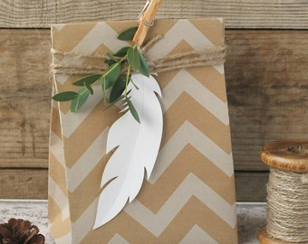 White Card Feathers x 9