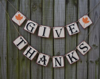 GIVE THANKS Thanksgiving banner Happy Fall decoration