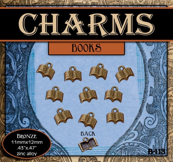 CHARMS - Brass Scriptures or Book - Pack of 10 Charms. Jewelry Findings for Necklaces, Bracelets, Pendants, Craft Projects