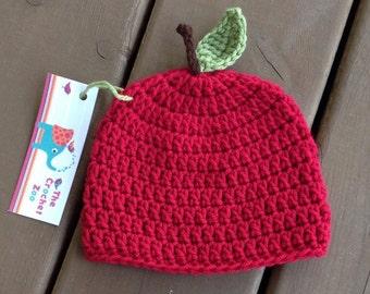 Apple Hat - Baby Red Apple Hat - Baby Photo Prop - Crochet Baby Hat