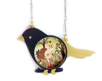 Black Dove. Place the little balls. Necklace