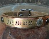 Custom Stamped Skinny Rustic Copper Bracelet with Darkened Silver Flower