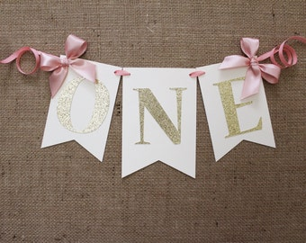 High Chair Banner | Pink and Gold Birthday Banner