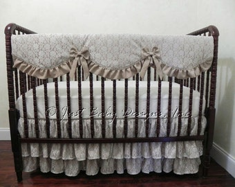 Lace crib bedding etsy for Burlap and lace bedroom
