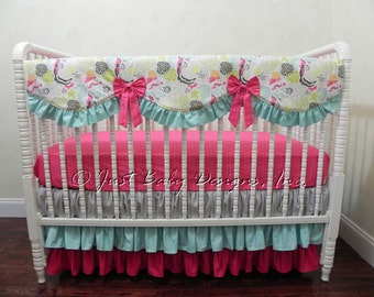 Baby Girl Crib Bedding Set Mirabella - Girl Baby Bedding, Bumperless Crib Bedding, Crib Rail Cover,  Hot Pink, Aqua Baby Bedding