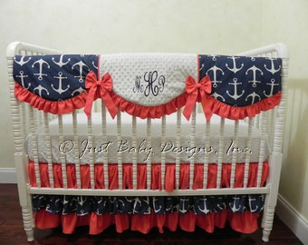 Nautical Baby Bedding Set Cerelia - Girl Baby Bedding, Anchor Crib Bedding, Navy and Coral Crib Bedding, Crib Rail Cover, Ruffle Skirt