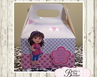 Dora and friends party favor box, Dora gable box, 10 Dora and friends favor gable box, Dora favor box