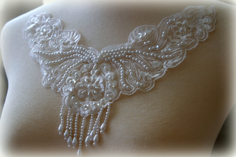 white beaded lace applique lace applique custom design