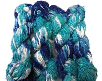 SALE Vegan Banana Silk Yarn, Blue/white/Turquoise