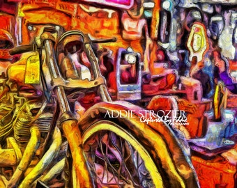 Vintage Motorcycle Instant Digital Image Download / Bar Decor Red Yellow Abstract Art Deco Photography for Personal Use