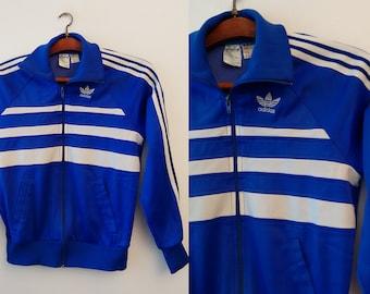 Adidas Vintage,Women's Sweatshirt,adidas windbreaker,adidas trefoil,white blue Jumper,made in French Retro,FREE Shipping