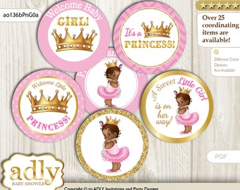 African Princess Cupcake Toppers for Baby Shower Printable DIY, favor tags, circles, It's a African, Chevron - ao136bPnG0