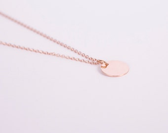 Rose Gold Plated Necklace Disc Rose Gold Ring Circle Coin Golden Necklace