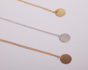 Gold Plated Necklace Disc Rose Gold Ring Circle Coin Golden Necklace Silver Gold Or Rosegold Choose your Colour