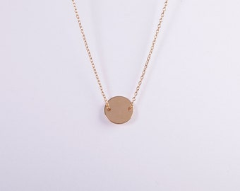 Golden Coin Necklace Disc Gold Plated Ring Circle Coin Golden Necklace