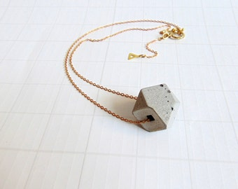 Concrete Hexagon Necklace, Geometric Concrete Jewelry, Industrial Cube Necklace