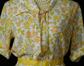 Vintage Yellow Floral  Dress M