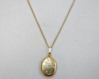 Oval Gold Filled Locket, Vintage Etched Gold Locket
