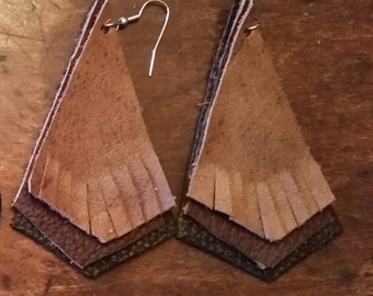 Urban Cowgirl Leather Fringed Earrings