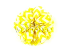 "Yellow Chevron - Set of 3 Large 3.5"" Unfinished Ballerina Flowers - LBF-028"