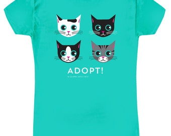 ADOPT  CAT T-shirt Mint Green Slim Fit Women's Cat Tee Shirt