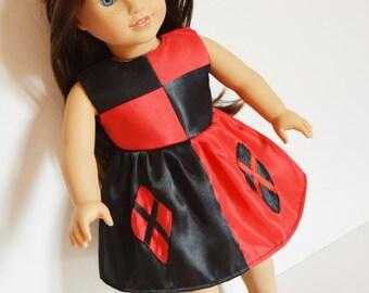 "Handmade Doll Clothes Harley Quinn Costume Dress Batman fits 18"" American Girl Dolls Halloween"