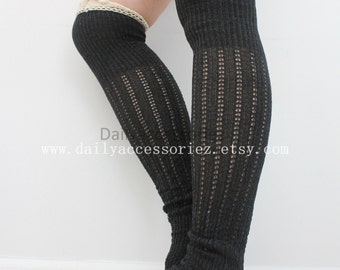 On Sale lace leg warmers, black lace trim leg warmers, leg warmers adult, boot socks, for women, Christmas Gifts, for her, for mom