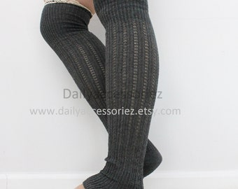 Spring Sale Gray lace womens leg warmers, long leg warmers, boot socks adult, for girls, for women, for her, for mom, for girlfriend