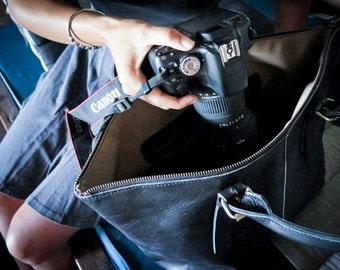 Dslr Camera Bag with Insert - genuine Leather shoulder bag - tote bag - Leather with canvas lining - Black