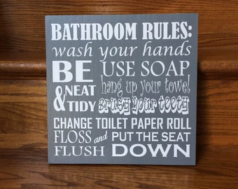 Bathroom Rules Sign Bathroom Wooden Sign Kids Bathroom Kids Bathroom Wall Decor Rustic