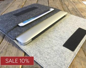 Macbook Case / Macbook Sleeve / Macbook Cover - Mottled Dark Grey and Mottled Light Grey - 100% Wool Felt