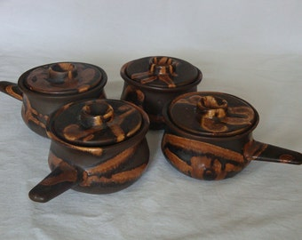 Vintage Laurentian Pottery Onion Soup Dish with Handle and Lid - Set of 4