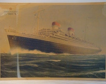 """Antique S.S. """"REX"""" / """"ITALIA-Flotte Riunite"""" 1935 Poster by Paolo Klodic with Original Frame"""
