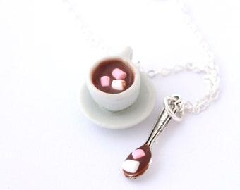 Hot cocoa necklace, Hot chocolate milk necklace, chocolate nekclace, marshmallow nekclace, miniature food jewelry