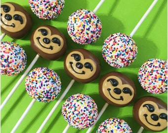 12 Rainbow Sprinkle and Cute Sloth Cake Pops for jungle party, zoo birthday, rainforest, kawaii, wedding, Wild Kratts, Costa Rica, Zootopia
