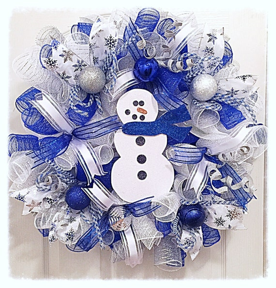 Snowman Blue Winter Deco Mesh Wreath