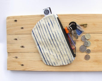 stripy navy pouch made with hand prepared waxed canvas, leather tab, coin pouch, nautical