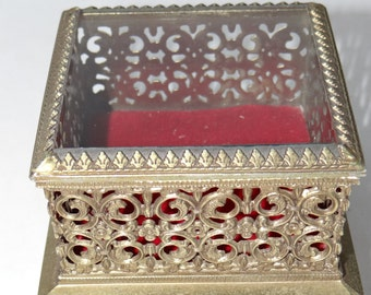 Vintage Beautiful 1950's Brass Filigree Trinket Box-Jewelry/Memory Box with Glass Lid/Top Red Velvet in Box