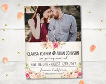 """Wedding Save The Date Card DIY Printable - FloralDream III Personalized 4.25""""x5.5""""   Save The Date Digital File   DIY Template"""