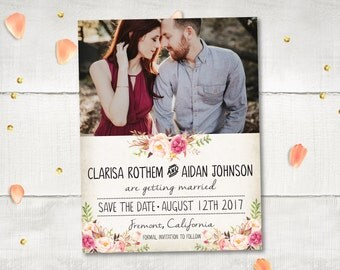 """Wedding Save The Date Card DIY Printable - FloralDream III Personalized 4.25""""x5.5"""" 