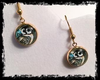 Owl earrings, owl, owl jewelry