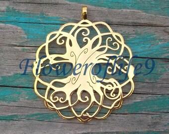 Tree of life - Iggdrasil pendant  (1 3/4 inch) - Brass