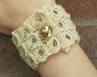 Handmade Crochet Boho Broomstick Lace Cuff Bracelet, Gold