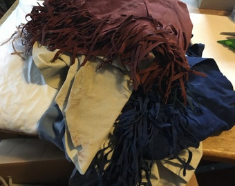 Box FULL of Mis  items, fringed leather purces and felt pieces