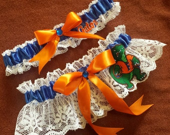 University of Florida Gators UF Inspired White Lace Wedding Garter Belt Set